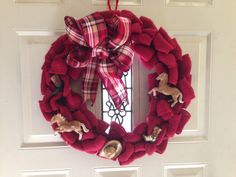 Red Burlap Horse Lovers Wreath Western Wreath by ArkSouthernBelle