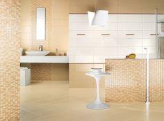 Badfliesen Ideen Designs Beige Weiß Keramik Mosaik