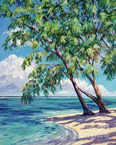 Prints of 'Casuarinas at Rum Point', Cayman Islands, by John Clark Landscape Art, Landscape Paintings, Watercolor Paintings, Original Paintings, Art Paintings, Barbados, John Clark, Clark Art, Caribbean Art