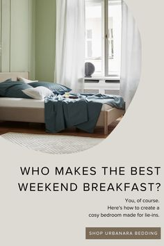 Breakfast in bed. Sleep peacefully in the softest, cosiest bedding made from the finest natural fabrics out there – sweet dreams! Beautifully soft and light as a feather, drifting off to the land of nod is easy with our bestselling bedding. Discover hand-picked home textiles and home accessories from URBANARA! Teal Bedding, Linen Bedding, Natural Bedroom, Minimal Bedroom, Cosy Bedroom, Breakfast In Bed, Soft Blankets, How To Make Bed, Home Textile