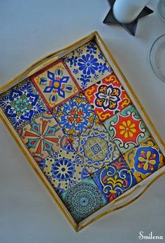 favorite home to visit - Kevin Rice Wood Crafts, Diy And Crafts, Wooden Painting, Cool Coasters, Painted Trays, Vinyl Tiles, Tray Decor, Mosaic Art, Interior Design Living Room