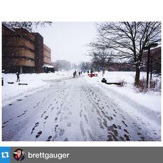 Footprints in the snow on Mastodon Way. #IPFW Repost Brett Gauger.