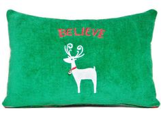 Christmas Accent Pillow Reindeer Believe Green by PookieandJack, $15.00