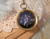 1 pc Vintage Style Nautical Compass Round Pendant Charm Necklace REALLY WORKS Nautical Antique Bronze and Black Chain INCLUDED large