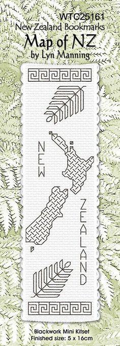 Cross-stitch bookmark - Blackwork Map of NZ