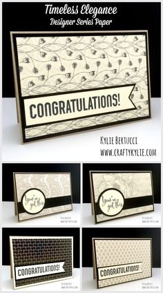 Kylie Bertucci - Team Congratulation Cards using the Crumb Cake Note cards and Timeless Elegance DSP #notecards #stampinup #timelesselegancedsp #triplebannerpunch