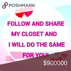 """Thanks For Following, Liking & Sharing My Closet"" Hello and Thanks for Playing my first Like. Follow. Share. Posh love Game. ""Coming together is a beginning; keeping together is progress; working together is success."" So Let's grow our business and friendship's together.  To play: like this post, follow me and All who liked this post,  share item/items you like in my closet, Feel free to tag your followers to spread the Posh love;) Come back when the price drops to add more people that…"