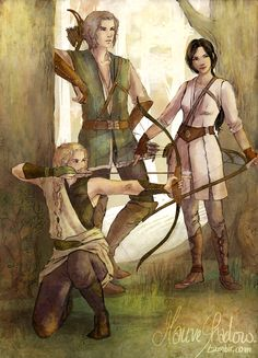 Celegorm, Aredhel and Finrod - on a hunting trip by mauveshadow
