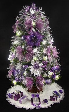 Cristhmas Tree Decorations Ideas : Mini Tabletop Christmas Tree Purple and Silver 17 Inches 35 Clear Mini Lights Tree Skirt Matching Presents Purple Christmas Tree, Tabletop Christmas Tree, Beautiful Christmas Trees, Noel Christmas, All Things Christmas, White Christmas, Christmas Tree Decorations, Christmas Ornaments, Christmas Photos