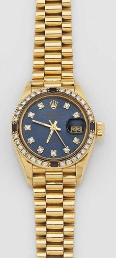 "Damenarmbanduhr von Rolex sog. ""Oyster Perpetual Lady-Datejust, Superlative Chronometer"". Gelbgold,"