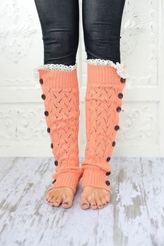 Coral Lacy Knitted Button Down Leg Warmers Boot by ThreeBirdNest, $48.00-love!