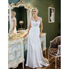 vaina / columna cariño barrer / cepillo tren satén del estiramiento y el vestido de novia de tul (699563) – EUR € 164.99