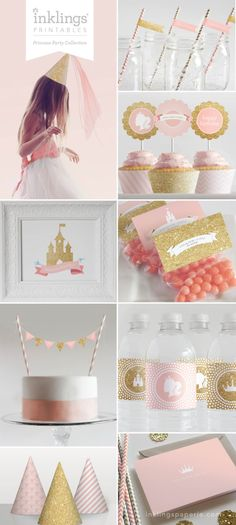 Princess Party Printable Collection by Inklings Paperie // INSTANT DOWNLOAD #princessparty #cupcaketoppers #pinkandgold #girlbirthday #custombanner