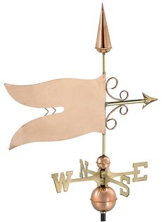 Copper Waving Flag Weather Vane