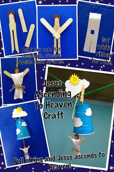 Jesus ascension craft This idea is originally from oriental trading. I'm a procrastinator and didn't have time to order it. I put my own twist on it and made it myself. Put a bible verse on the cloud in top. Children's Church Crafts, Catholic Crafts, Bible Story Crafts, Bible Crafts For Kids, Sunday School Lessons, Sunday School Crafts, Religion Activities, Kids Class, Easter Activities