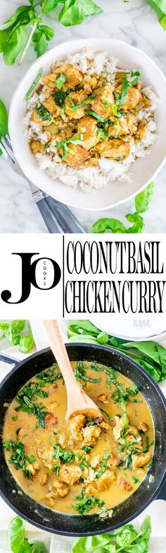 This Coconut Basil Chicken Curry is an incredibly fragrant coconut milk based curry and ready in just 30 minutes. Perfect for a busy weeknight. via Jo Cooks Entree Recipes, Indian Food Recipes, Asian Recipes, Dinner Recipes, Ethnic Recipes, Chicken Curry, Basil Chicken, Teriyaki Chicken, Bbq Chicken