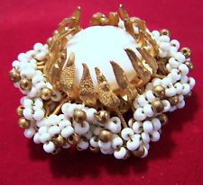 1950s Signed Miriam Haskell White Seed Bead Pin Glass Cabochon Gold Tone316DGZ