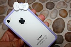 cute purple and white hello kitty iphone cover