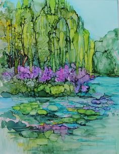 Lily Pond in alcohol ink - www.carolynopderbeck.com