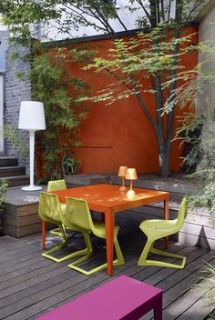 What was a dark and sombre urban courtyard has been transformed with raised decking and colourful contemporary furniture - patio - terrasse - pergola - wooden deck - garden furniture orange pink green - mobilier / meuble de jardin rose vert Outdoor Rooms, Outdoor Gardens, Outdoor Living, Contemporary Outdoor Furniture, Outdoor Furniture Sets, Patio Wall, Backyard Patio, Outside Living, Garden Spaces