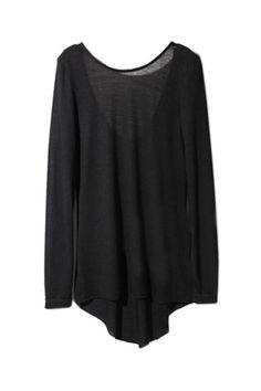 #Romwe Round Neck Backless Black T-shirt