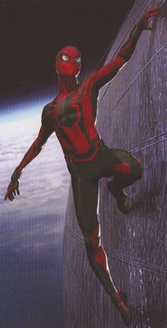 Heading into Avengers: Infinity War, it's fair to say that most of us expected to see Peter Parker get his black, alien costume from the comics. That didn't happen but Marvel did consider a similar design. Marvel Comics Art, Marvel Heroes, Marvel Cinematic, Marvel Avengers, Spiderman Kunst, Spiderman Spider, Amazing Spiderman, Marvel Concept Art, Die Rächer