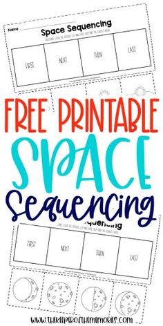 Encourage your little kids to be creative thinkers and problem solvers with these Free Story Sequencing Worksheets. Use them with your next space preschool theme or even have an out of this world adventure! Either way, you're definitely going to want to download yours today! #preschool #kindergarten #sequencing #space #preschoolworksheets #kindergartenworksheets #sequencingworksheets Preschool Printables, Preschool Kindergarten, Kindergarten Worksheets, Printable Worksheets, Free Printable, Story Sequencing Worksheets, Sequencing Activities, Sensory Activities Toddlers, Kids Learning Activities