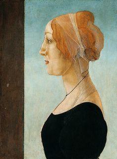 Botticelli. #greatart #masterartists #potraiture #portrait #woman #face #faces #red #black #blue #botticelli