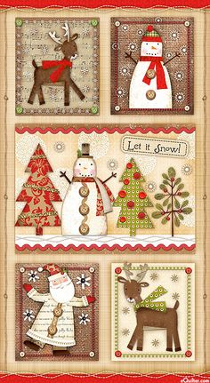 Holiday Stitches Fabric Christmas Panel by SPX Fabrics cotton. great for home decor, quilting and much more! Christmas Patchwork, Christmas Applique, Christmas Sewing, Primitive Christmas, Christmas 24, Christmas Makes, Christmas Pictures, Holiday, Quilt Wall Hangers