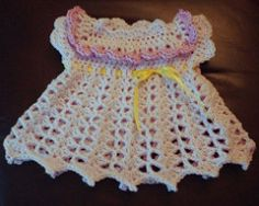 Free Crochet Peachy Ensemble Baby Dress Pattern   This beautiful peach baby set has patterns ranging from Newborn to 18 months. The pat...