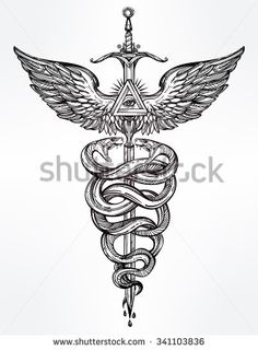 Caduceus symbol of god Mercury. Highly detailed hand snakes, wrapped around winged staff. Hand-drawn vintage linear tattoo design. Dark romantic isolated vector art.