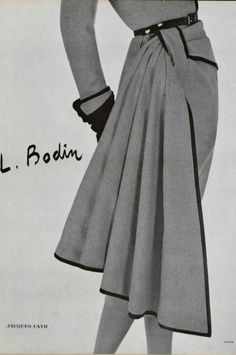 1950 Jacques Fath. I'm fascinated by this feature where a length of fabric is wrapped/draped around and tucked through a loop. It turns up on a lot of designs in the 1950s, sometimes in a contrasting fabric.