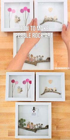 Make beautiful pebble rock art featuring your family or loved ones. These make wonderful and special handmade gifts for Mother's Day, friends or family! Stone Pictures Pebble Art, Stone Art, Sea Glass Crafts, Sea Glass Art, Stone Crafts, Rock Crafts, Arts And Crafts For Kids Easy, Pebble Art Family, Deco Rose