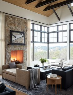 I think I've found the perfect mountain home! I love its warmth, blend of textures, and the amazing views through all the windows. Living Room Decor, Living Spaces, Small Living, Modern Living, Living Rooms, Amy, Modern Ranch, Boho Home, Family Room Design