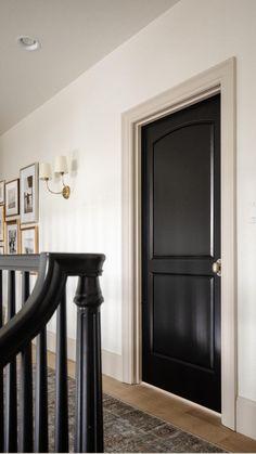 My Living Room, Living Room Decor, Living Spaces, Black Interior Doors, Interior Door Colors, Painted Interior Doors, Black Doors, Home Renovation, Home Remodeling