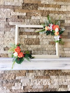 """Wedding photo prop frame, 18""""x24"""" wedding decoration, rustic wedding decor, farmhouse style home decor, photo booth prop, Frame with Flowers"""