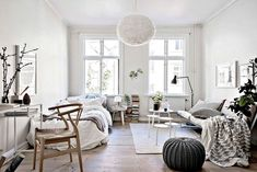 Awesome 40 Elegant Bright Studio Apartments Bedroom Design Ideas. More at https://homehihoo.com/2018/04/27/40-elegant-bright-studio-apartments-bedroom-design-ideas/