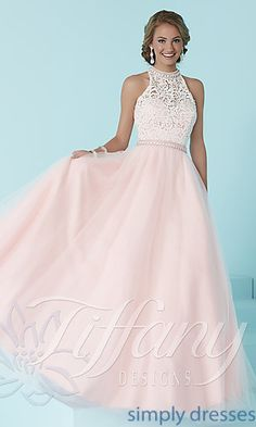 Long Prom Dress by Tiffany with Lace Bodice and Beaded Choker Collar a2f1f64a7fb5
