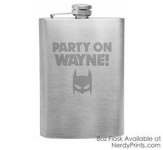 Image of Batman Wayne's World Crossover Flask - Party On Wayne!