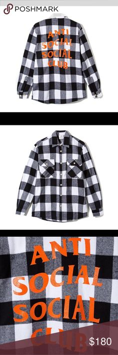 Anti social social club flannel Checkered flannel. AA for views! Best offer! American Apparel Tops Sweatshirts & Hoodies