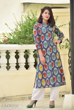 Checkout this latest Kurtis Product Name: *Women's Printed Cotton Slub Kurti* Fabric: Cotton Slub Sleeves: Sleeves Are Included Size: 46 in 48 in 50 in 52in Length: Up To 46 in Type: Stitched Description: It Has 1 Pieces Of Women's Kurti Work: Printed Country of Origin: India Easy Returns Available In Case Of Any Issue   Catalog Rating: ★4.2 (477)  Catalog Name: Women'S Printed Cotton Slub Kurtis CatalogID_483852 C74-SC1001 Code: 693-3475509-2001
