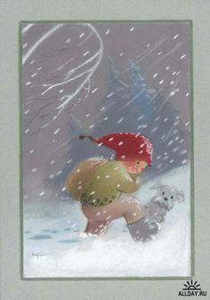 Kaarina Toivanen Christmas Tale, Christmas Drawing, Christmas Gnome, Scandinavian Christmas, Fun Illustration, Christmas Illustration, Illustrations, Troll, Swedish Christmas Traditions