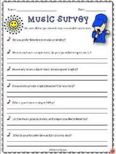 Back to school! Start the new school year with these fun surveys for your music classes! These surveys will: ♦ Get your students thinking and writing. ♦ Give you an insight into your students' music listening habits and thoughts and opinions about music!