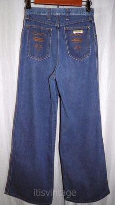 Vintage-60-039-s-70-039-s-Wrangler-Denim-Jeans-Flare-Wide-Leg-High-Waist-24x29-actual
