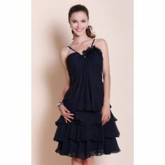 A-line Spaghetti Straps Knee-length Chiffon Bridesmaid Dress