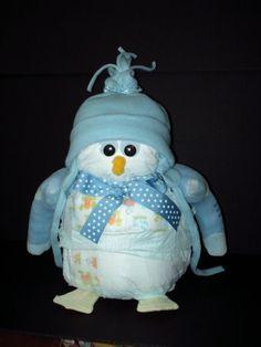 Penguin diaper cake
