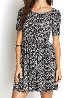 Buy Black Wavy Stripe Backless Short Sleeve Dress from abaday.com, FREE shipping Worldwide - Fashion Clothing, Latest Street Fashion At Abaday.com