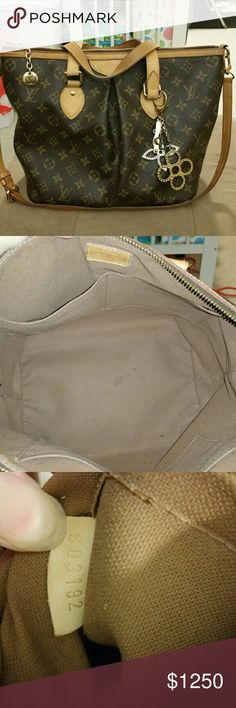 Authentic Louis Vuitton Palermo PM Used authentic Louis Vuitton Palermo Pm. This is used but kept in great condition. Leather handles and strap has patina nicely. Very small wet stain inside. All new piping for the bottom of the bag. This bag will come with dust bag and repair receipt for the piping. I do Not have the original receipt but Louis Vuitton will not repair anything unless it's authentic and if purchase here Posh will authenticate for free.BAG CHARM NOT INCLUDED!!!!! Trade value…