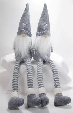 Scandinavian Long Legged Gnome Gray Felt Set of 2 Decorations #MeraVic