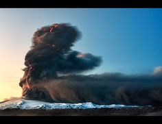 Watching a volcano erup Eyjafjallajökull, Iceland